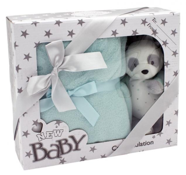 TULILO - Dětská sada deka + plyšová hračka Medvídek Panda - tyrkysová