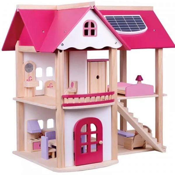 TULIMI - Dřevěný domeček pro panenky, růžový