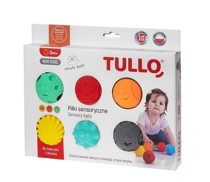 TULLO - Edukační barevné míčky 6ks v krabičce, smajlíci