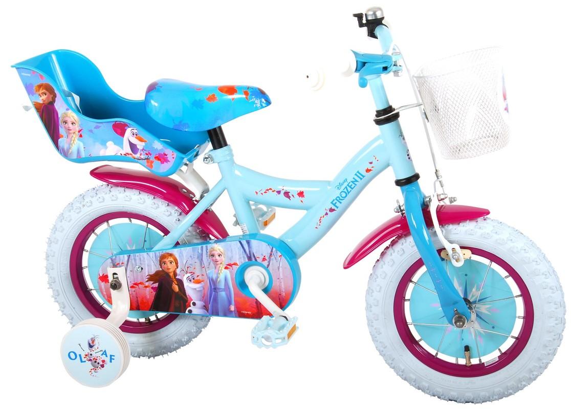 """VOLARE - Dětské kolo pro dívky FROZEN II - modrý - růžový, 12 """" - složený na 95%"""