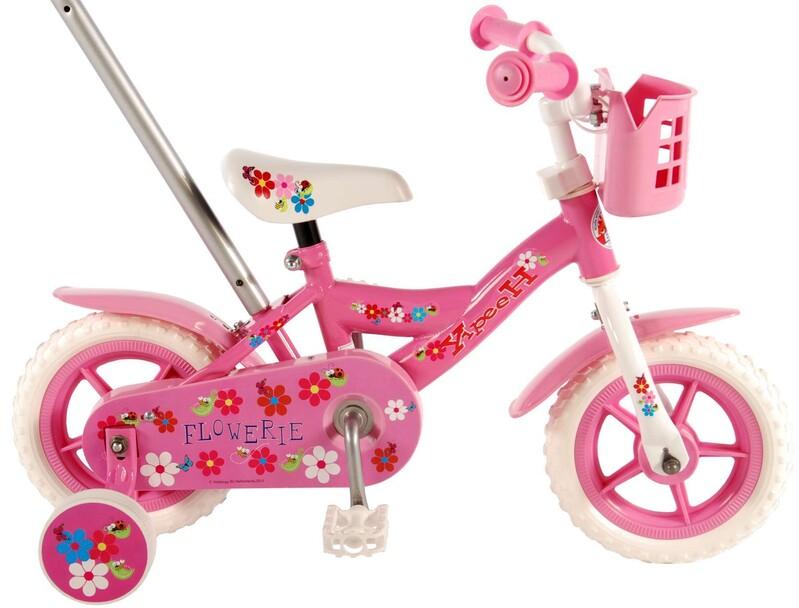 """VOLARE - Flower Dětské kolo 10 """"- Pink / White"""