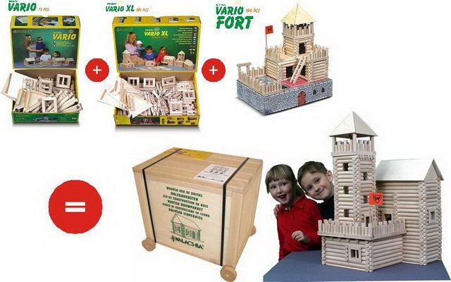 WALACHIA - Dřevěná stavebnice VARIO BOX 450 dílů