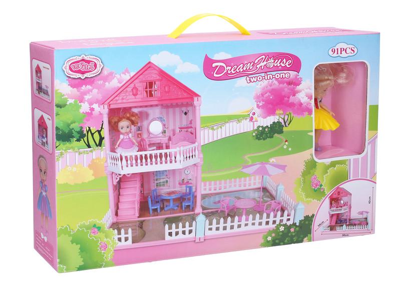 WIKY - Domeček pro panenky se zahrádkou 50x34x42 cm