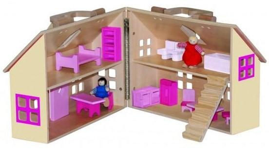 WOODY - Domeček pro panenky kufřík 91323