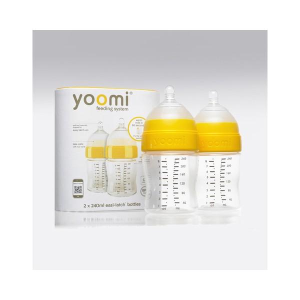 Yoomi - 240 ml kojenecká láhev 2x (bez ohřívače) + dudlík s pomalým průtokem